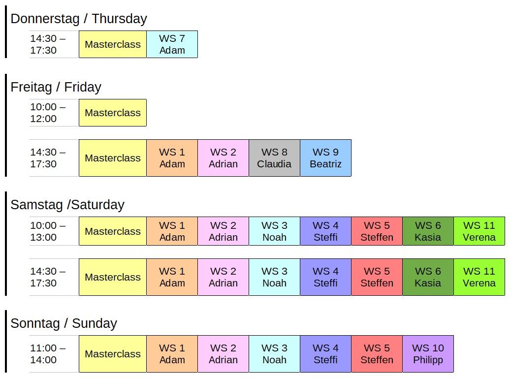 Zeitplan der Workshop